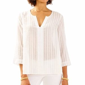 NALANI TUNIC RESORT WHITE SEMI SHEER SPLIT NECK